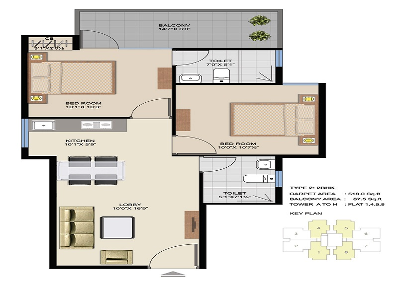 Type 2 of 2 BHK